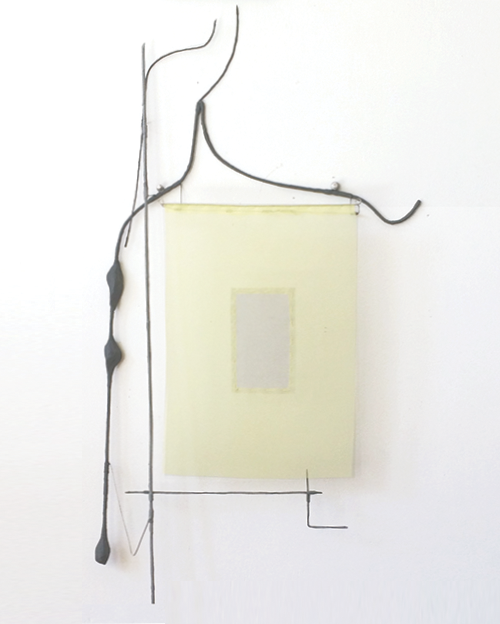 Floating Drawing no. 38,  2016, wire, paper, silk, gouache,  17 × 30 × 3 inches