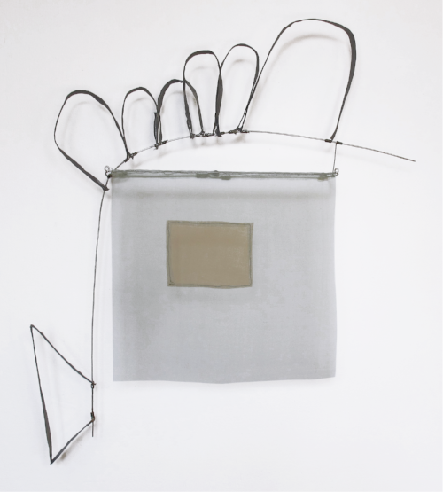 Floating Drawing no. 37,  2015, wire, paper, silk, gouache,  22 × 24 × 4 inches