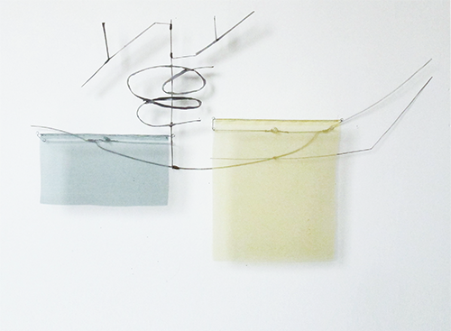 Floating Drawing no. 36,  2015, wire, paper, silk, gouache,  31 × 17 × 3 inches
