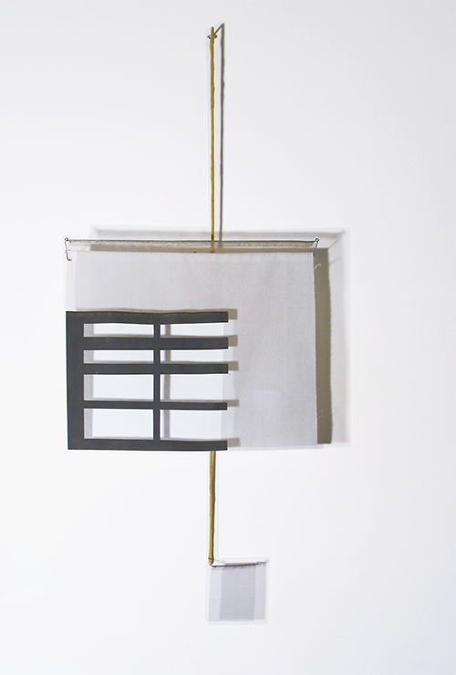 Floating Drawing no. 33,  2015, Wire, paper, silk, gouache,  16 × 38 × 4 inches