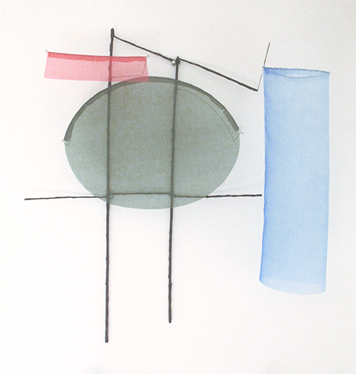 Floating Drawing no. 39,  2016, wire, paper, silk, gouache,  24× 22 × 6 inches