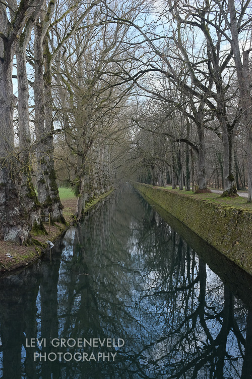 A canal surrounding the grounds