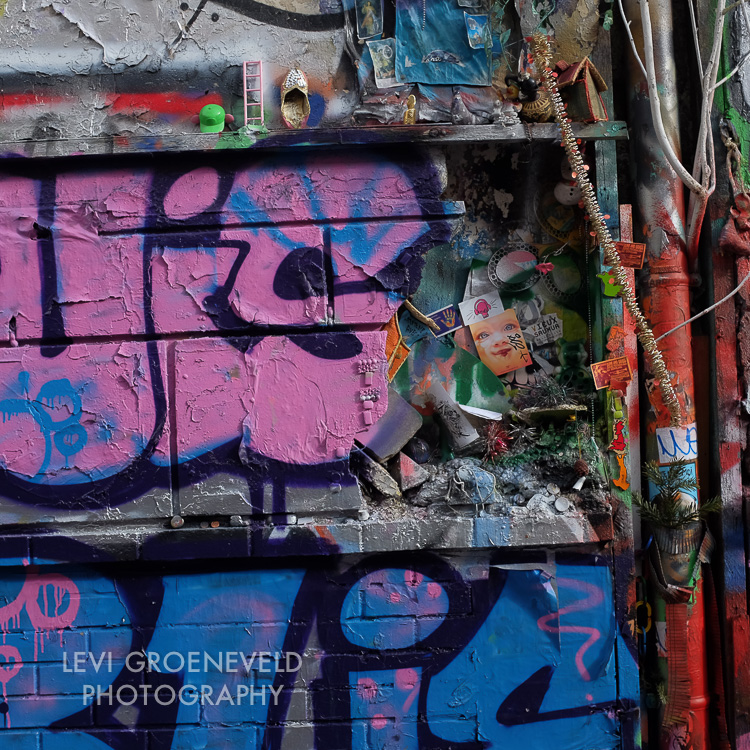 A graffiti street shrine
