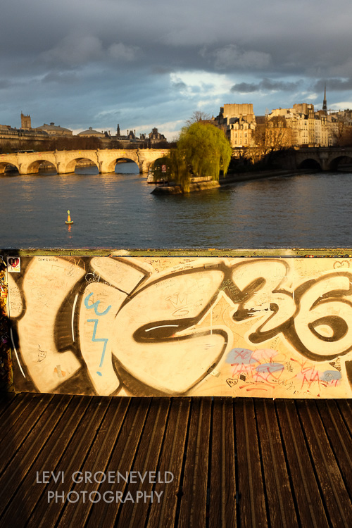 Some of the most incredible light I have ever seen. The graffitied plywood is Paris' answer to the hideous locks polluting the bridges.