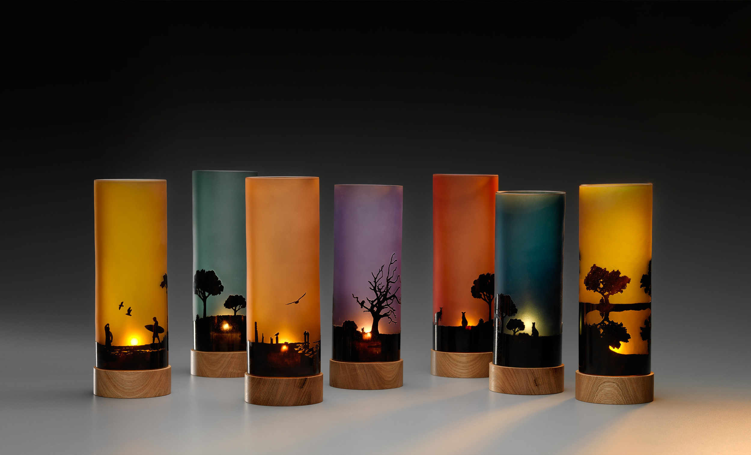 Sunset Silhouette Candle Lights