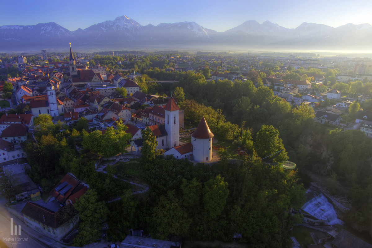 Kranj with Alps in the background