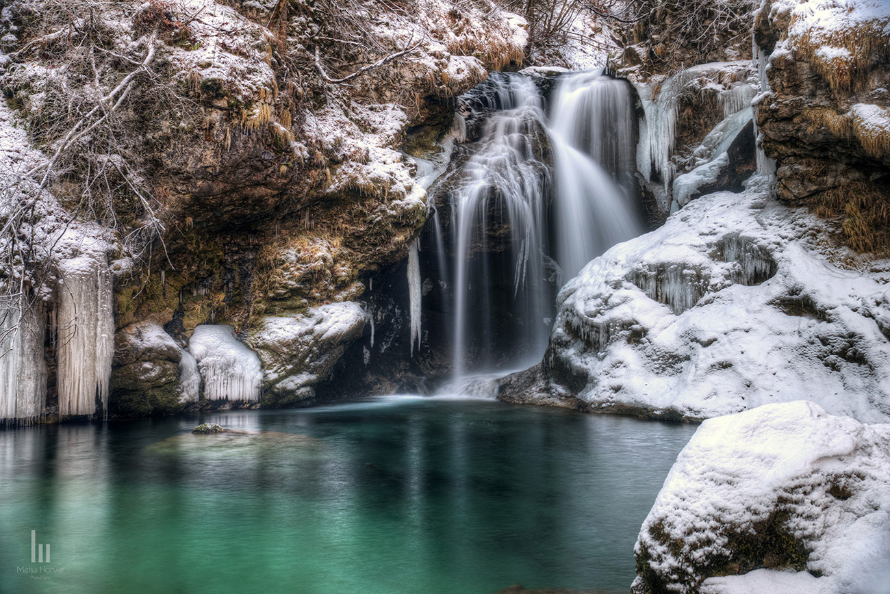Crystal-clear Radovna and waterfall Šum