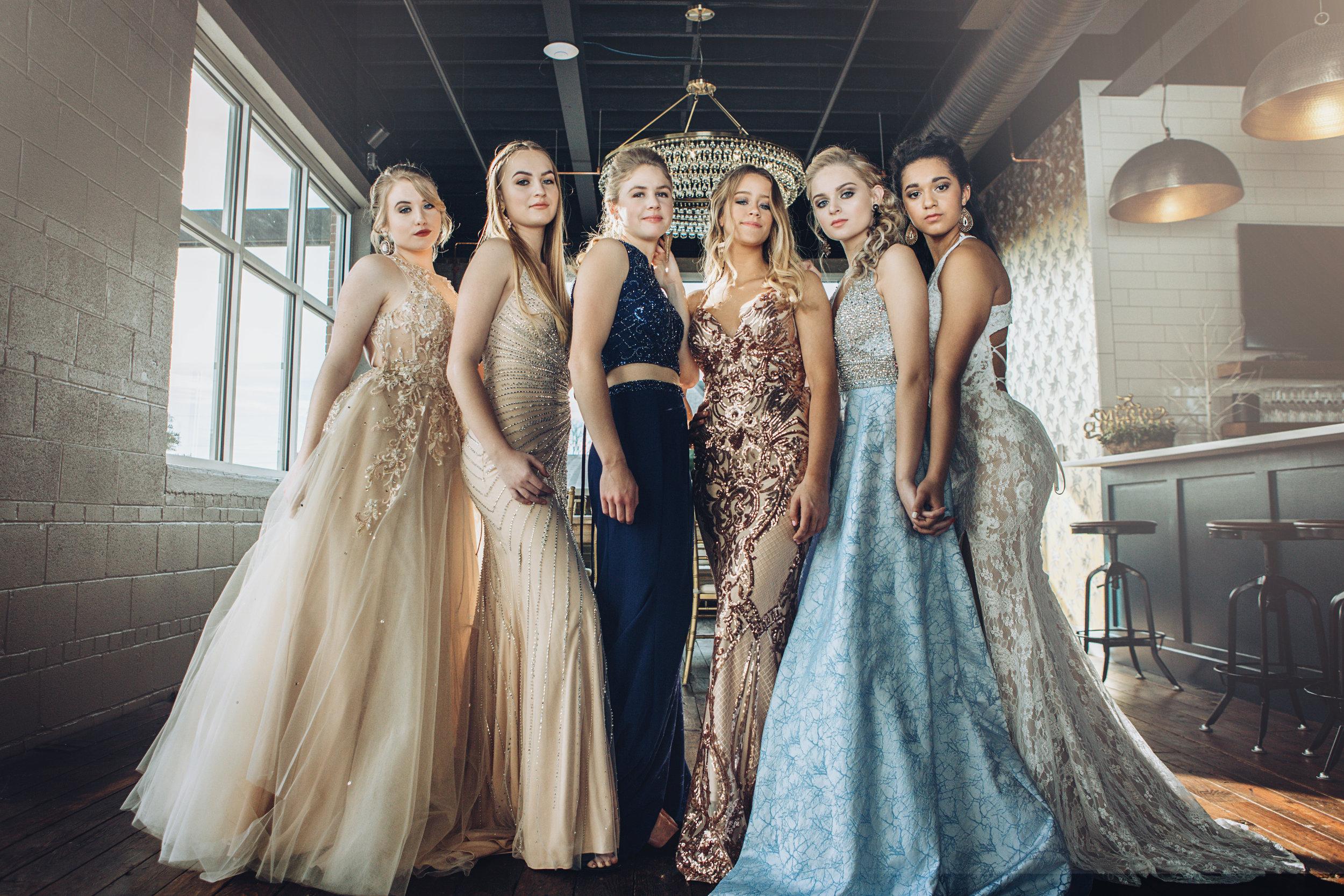 Pretty Team 20's Prom Photo Shoot featuring dresses from J & B Bridal. Location @ Grant Street Loft