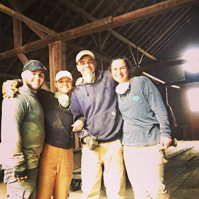 Dream Team clean out of the dustiest old barn any of us has been in in a while!  #thisoldbarn #howtobuildagoatdairy #maine #207 #mainefarm #goatfarm #goatcheese