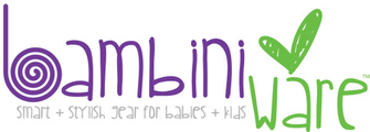 BambiniWare  creates smart + stylish gear that makes sense, works well and looks great on the modern mom + baby. All of their products are mommy-designed, bambini-friendly and manufactured in the USA..