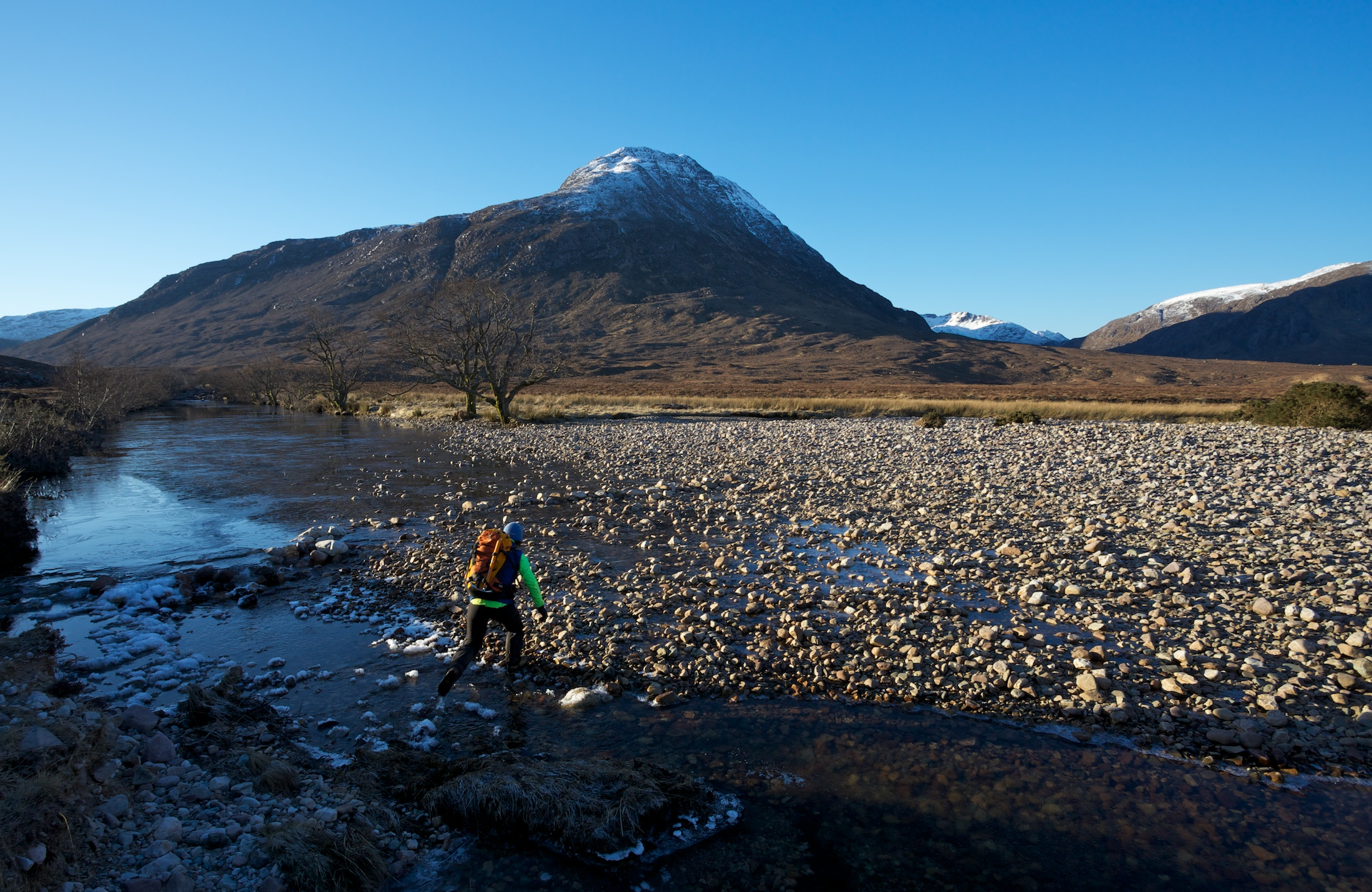 Setting off for A'Mhaighdean, crossing the river just south of the bothy. We were heading up the valley on the right.