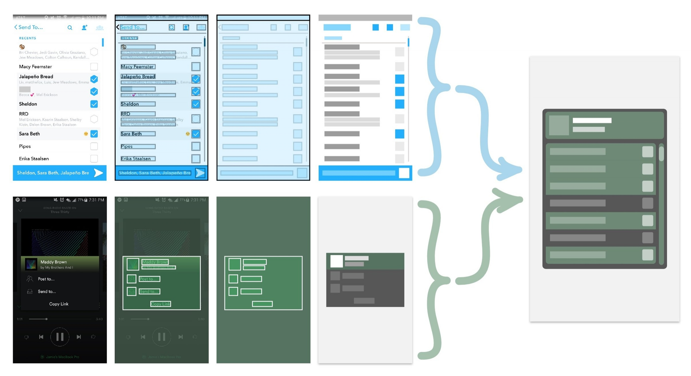 Overview of prototype workflow, combining and synthesizing existing elements to make new elements.