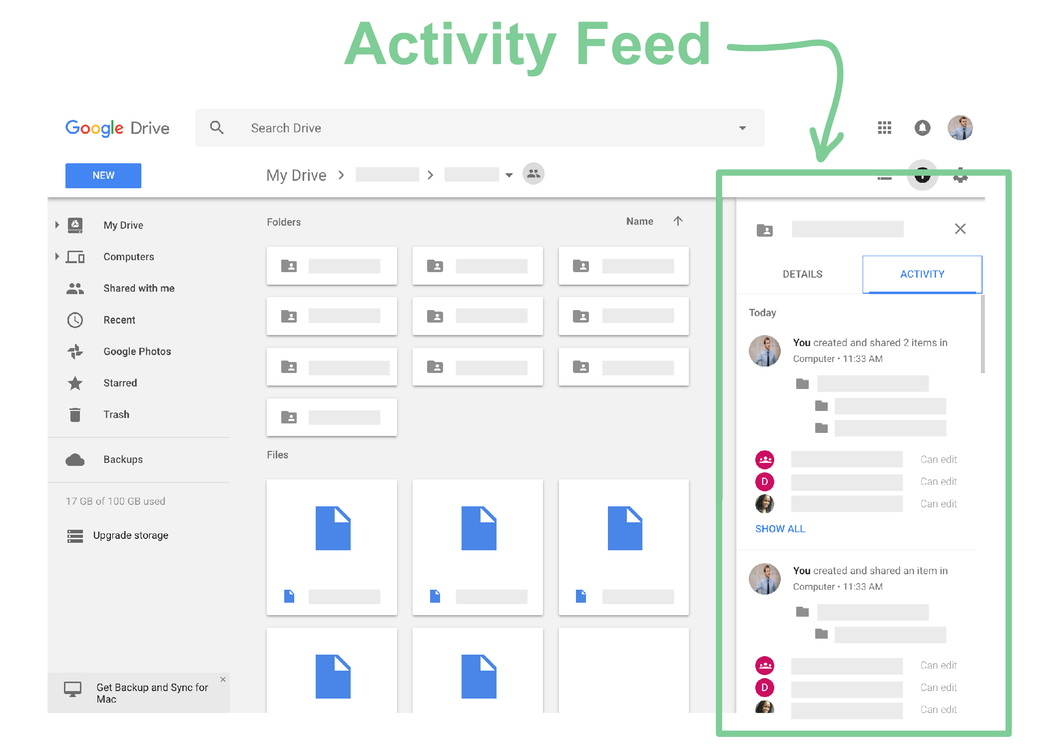 (Fig. 1) Position of the Activity Feed in Google Drive