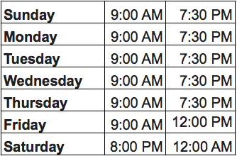 Studio Hours of Operation