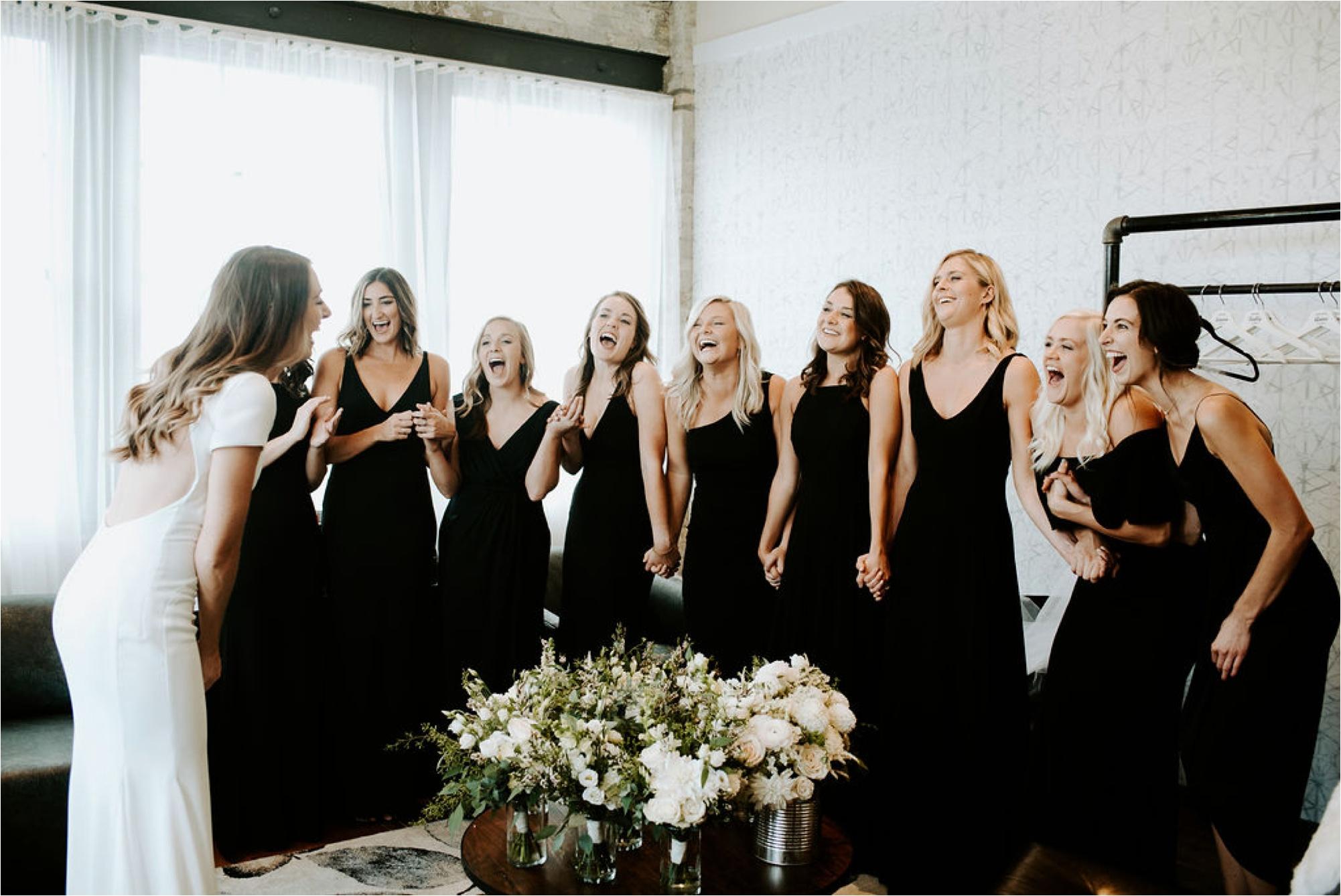bridesmaids first look machine shop
