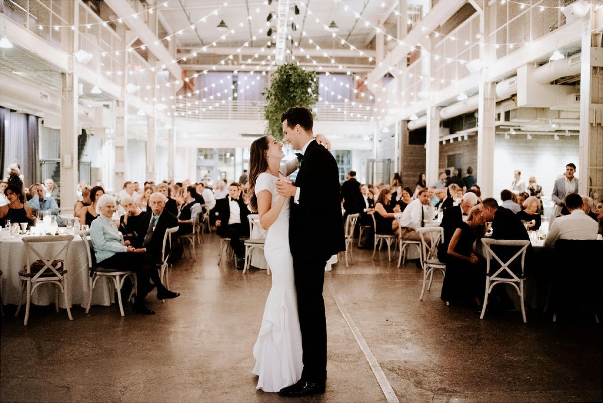 machine shop wedding minneapolis reception lighting first dance