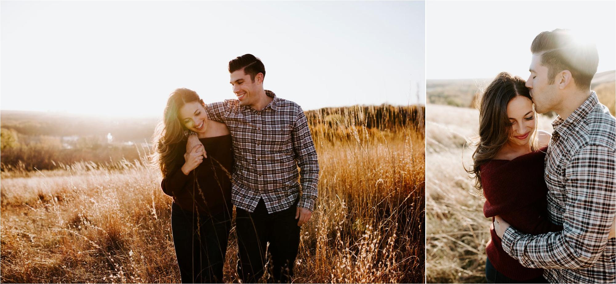 Eden Prairie Bluffs Minnesota Sunset Engagement Photos