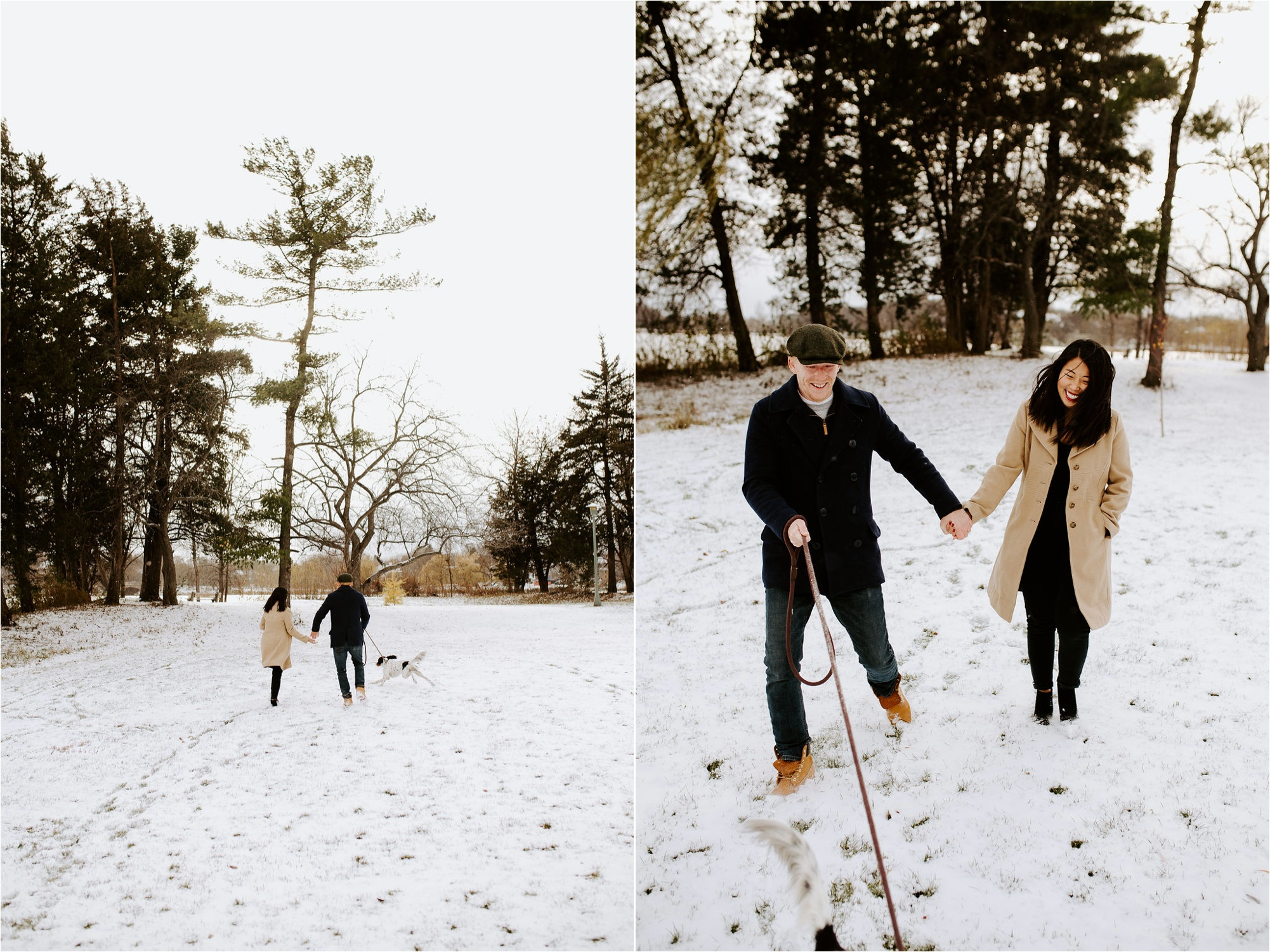 lake of the isles minneapolis winter engagement session photos