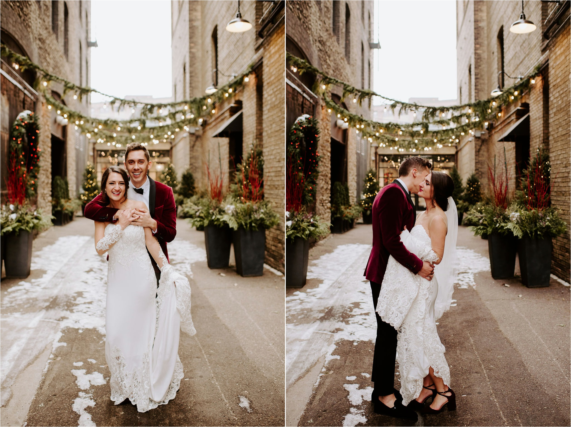 north loop minneapolis winter december wedding photos