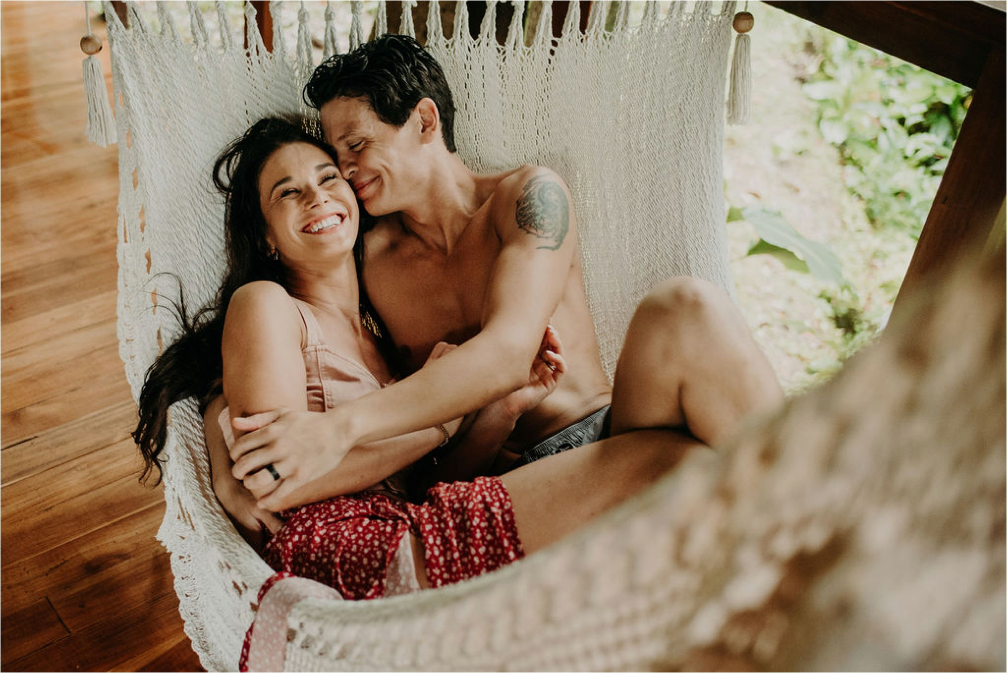 boho couple on hammock costa rica