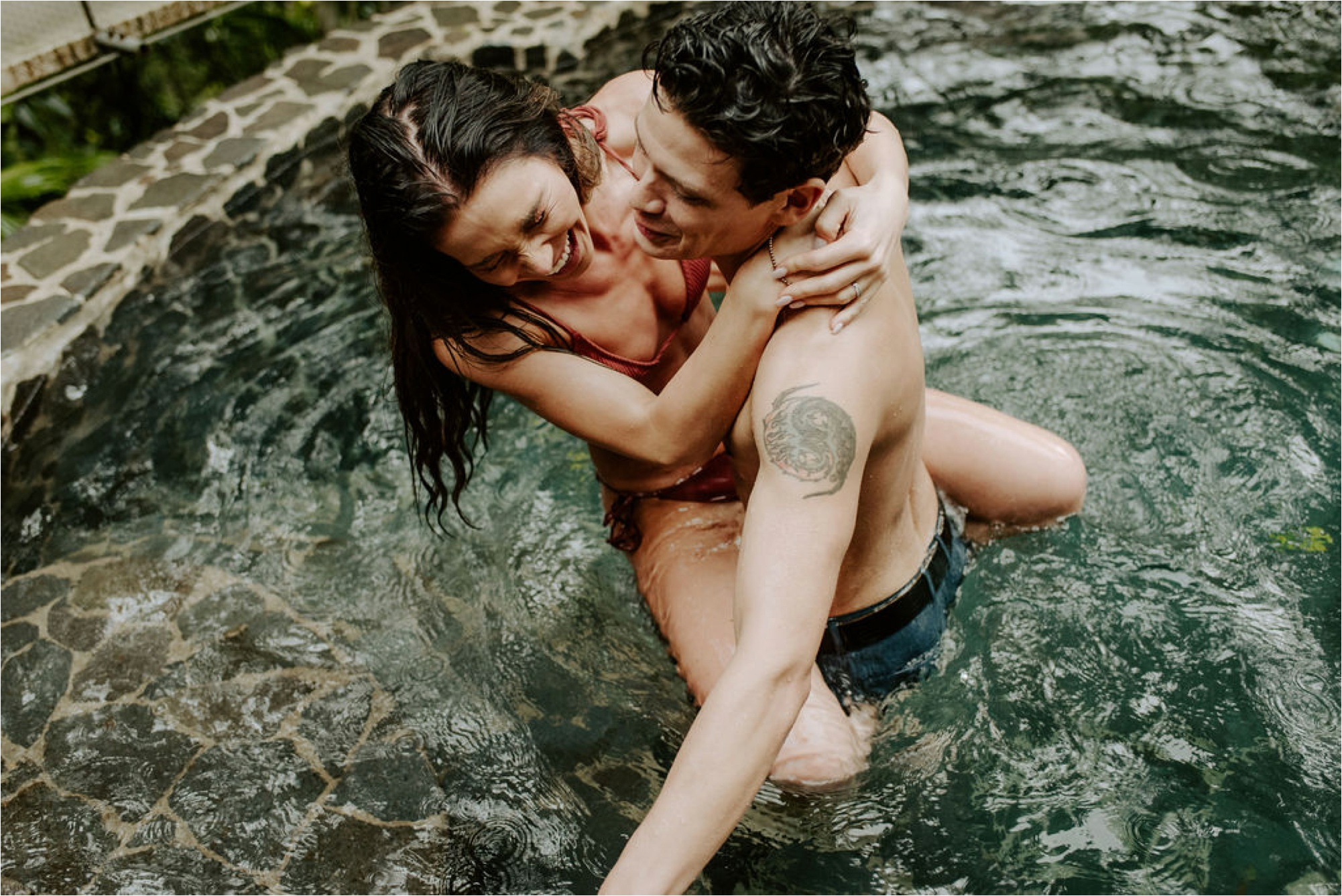 boho couple swimming elopement adventure photos