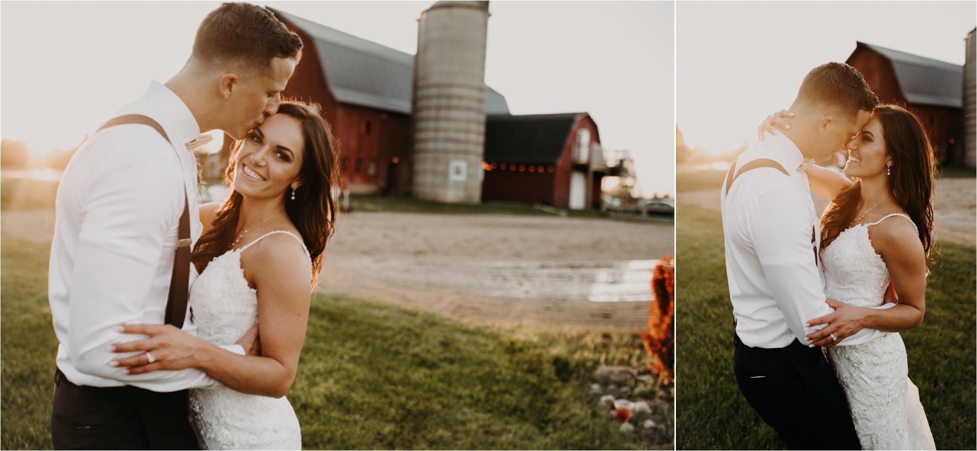 bride and groom sunset photos wisconsin wedding photographer