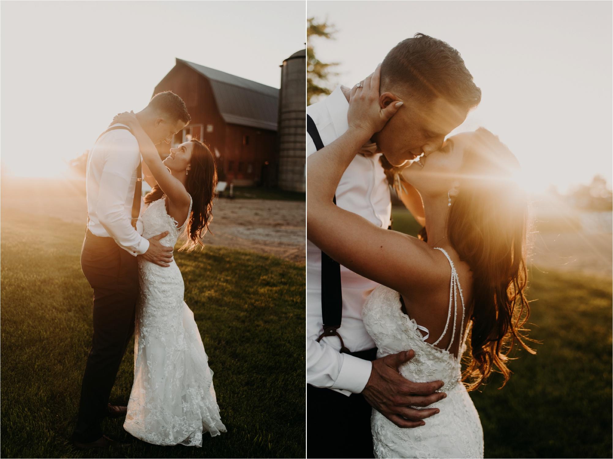 lake geneva wisconsin wedding bride and groom sunset photos