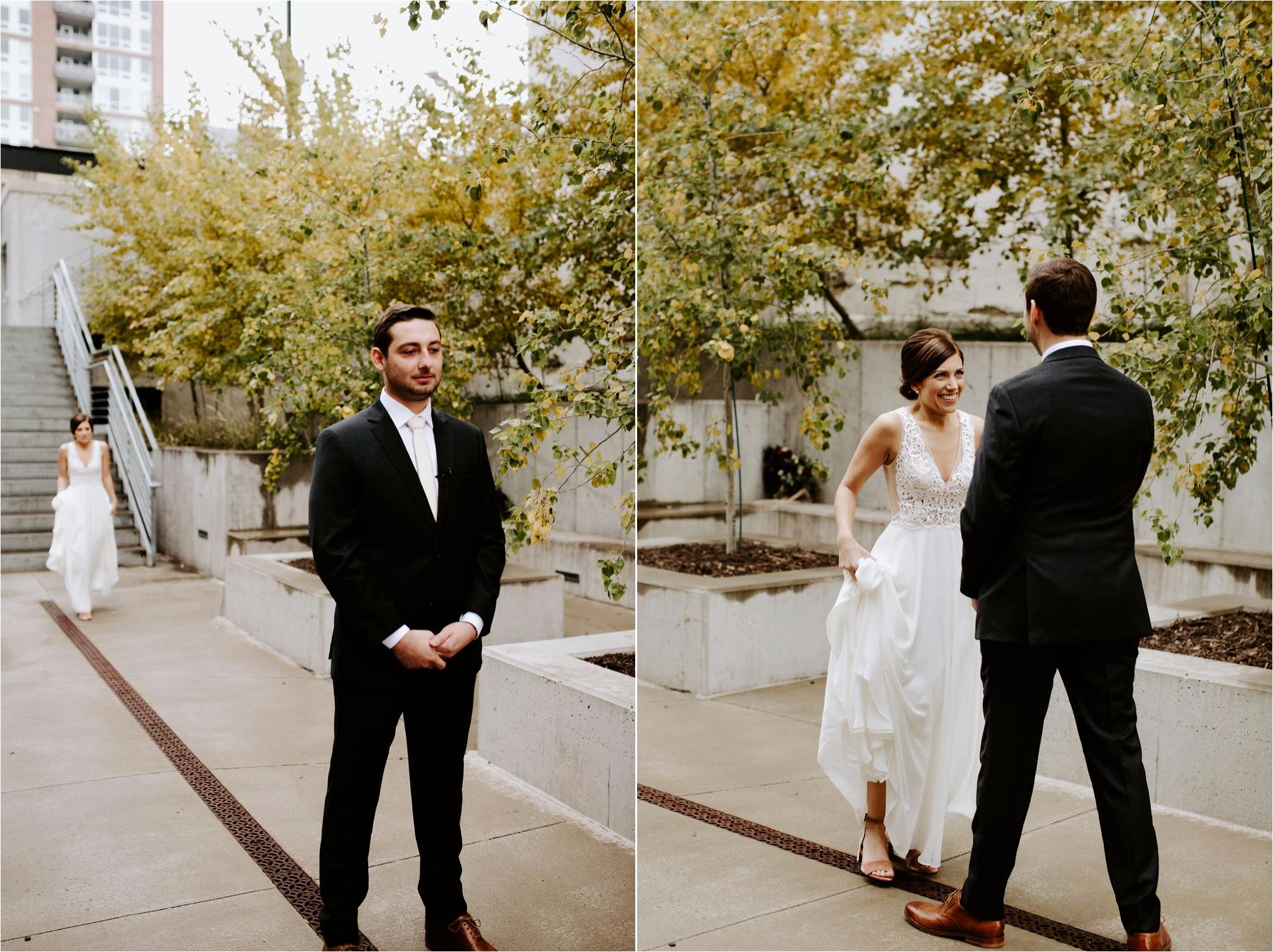machine shop minneapolis wedding first look, minnesota wedding engagement photography