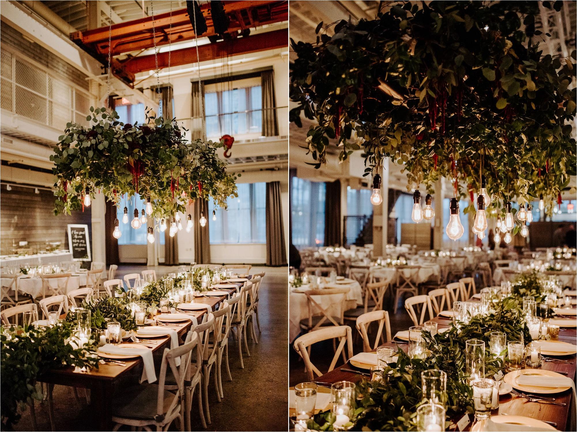 fall machine shop minneapolis minnesota wedding photography reception set up