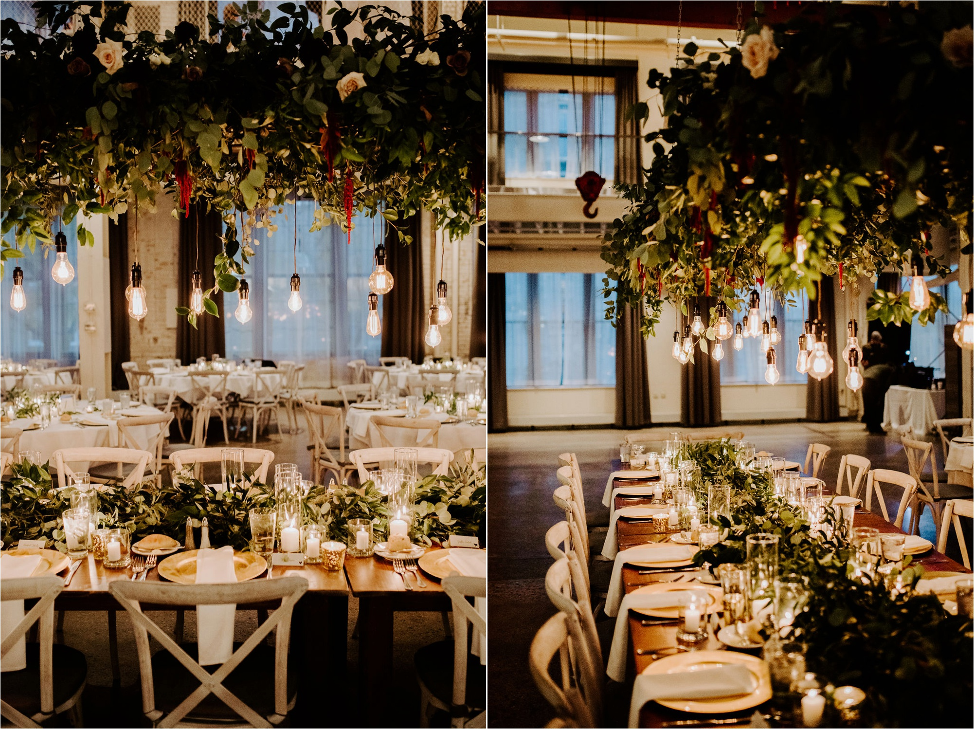 fall machine shop minneapolis minnesota wedding photography reception details kindred blooms set up