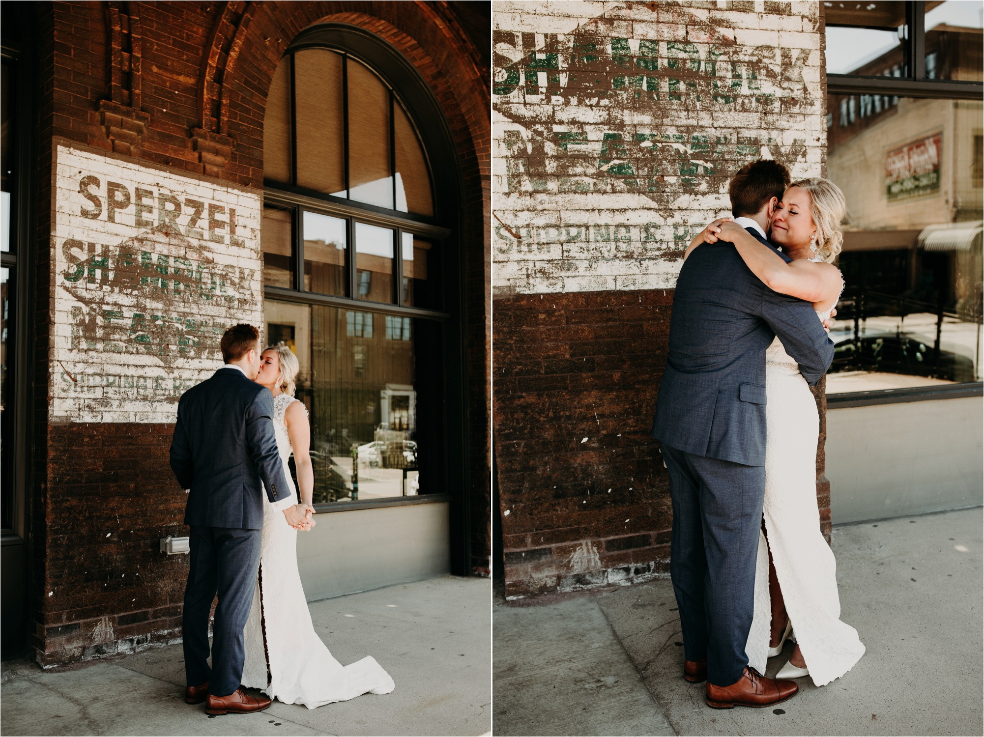 north loop minneapolis minnesota first look bride and groom photos