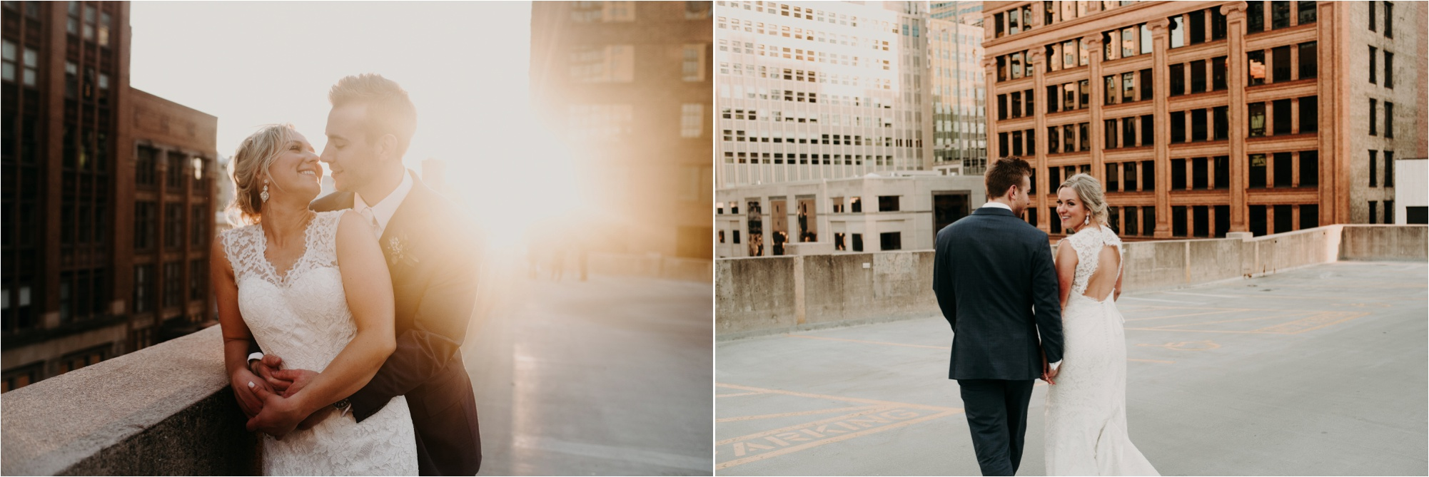 downtown minneapolis bride and groom sunset photos minneapolis wedding photographer