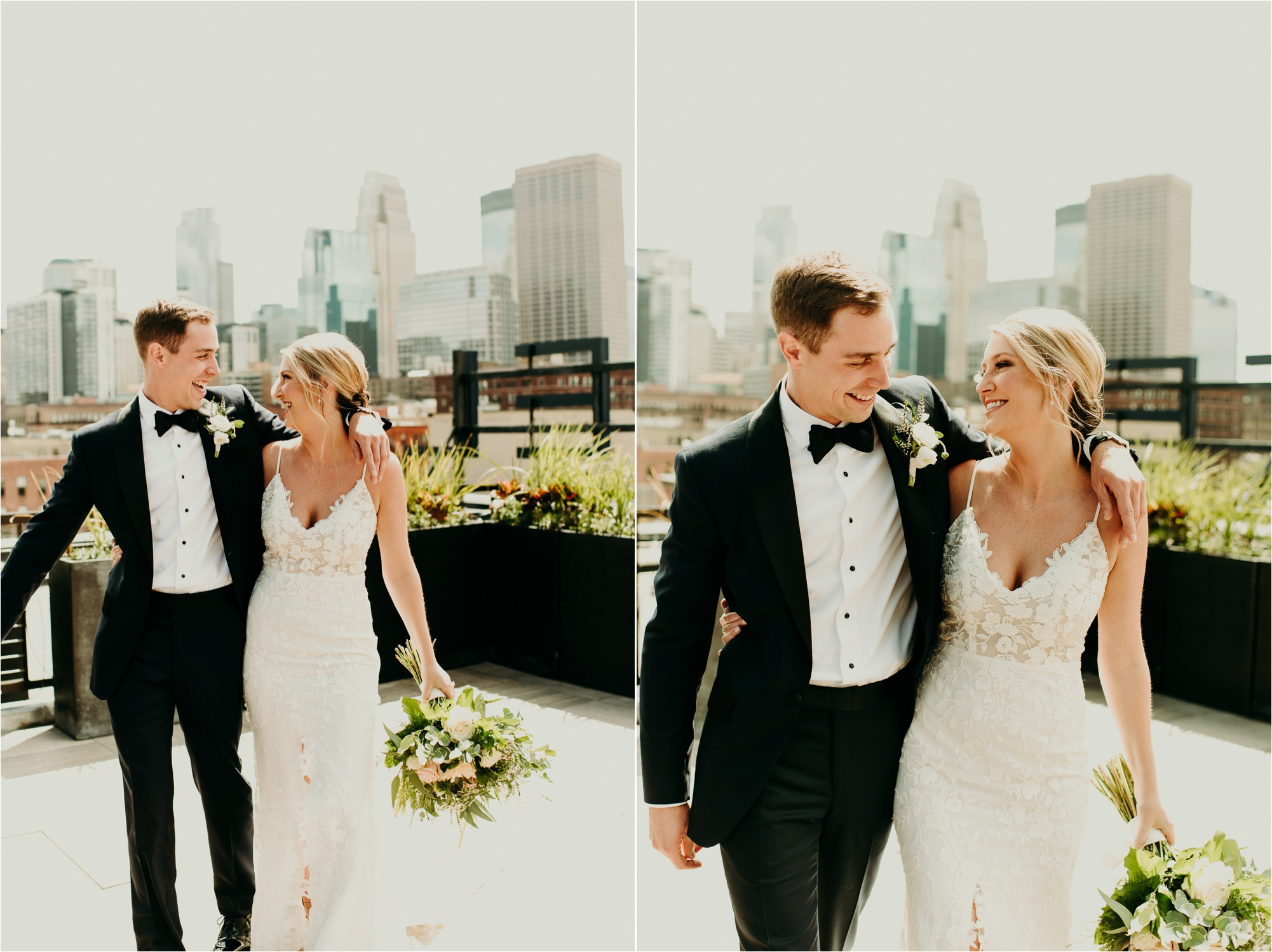 hewing hotel rooftop bride and groom photos