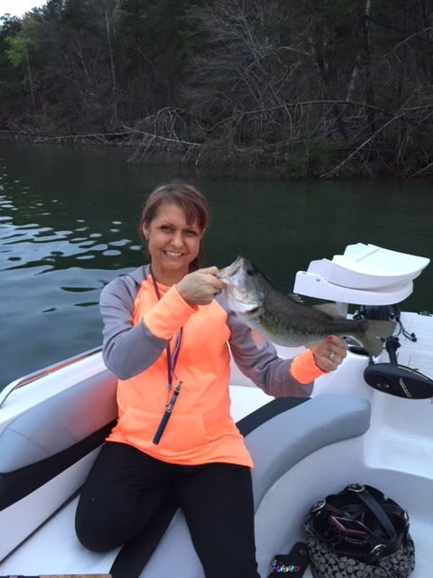 Here is Becky with a nice largemouth bass.