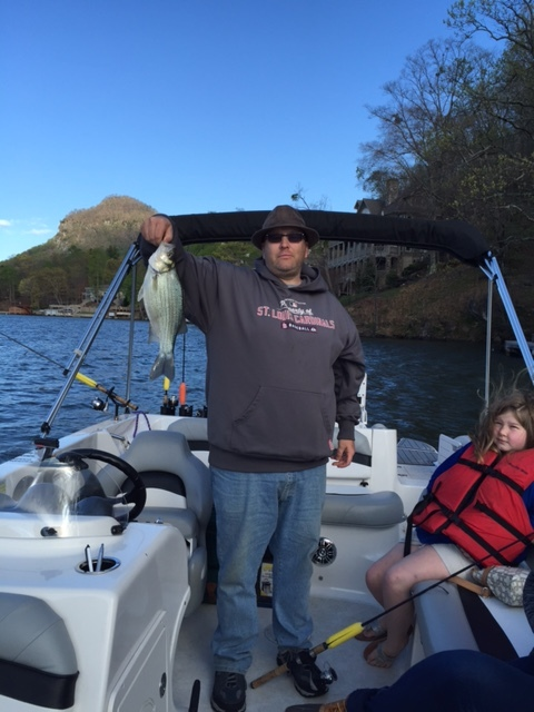 Here is Jim with a nice white bass.
