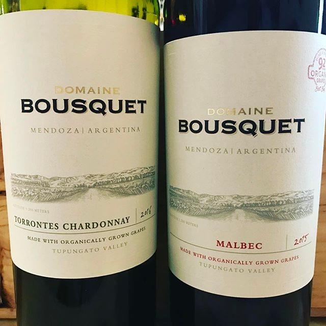 Tonight's tasting features organic wines from Argentina. Free tasting begins at 4:30pm #wine #torrontes #malbec #vino #vinoutlet #domainebousquet