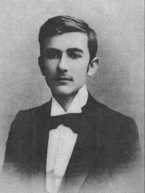 Very early black and white photo of a young, dark-eyed Szymanowski.