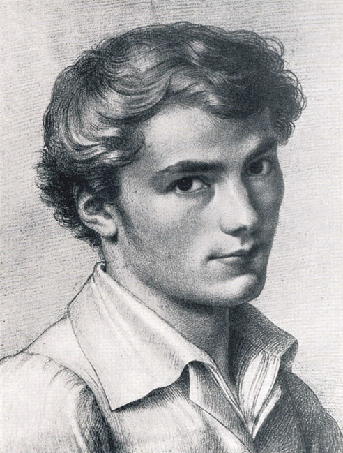 A drawing of a cute young Schubert, with tousled hair and an open collar.