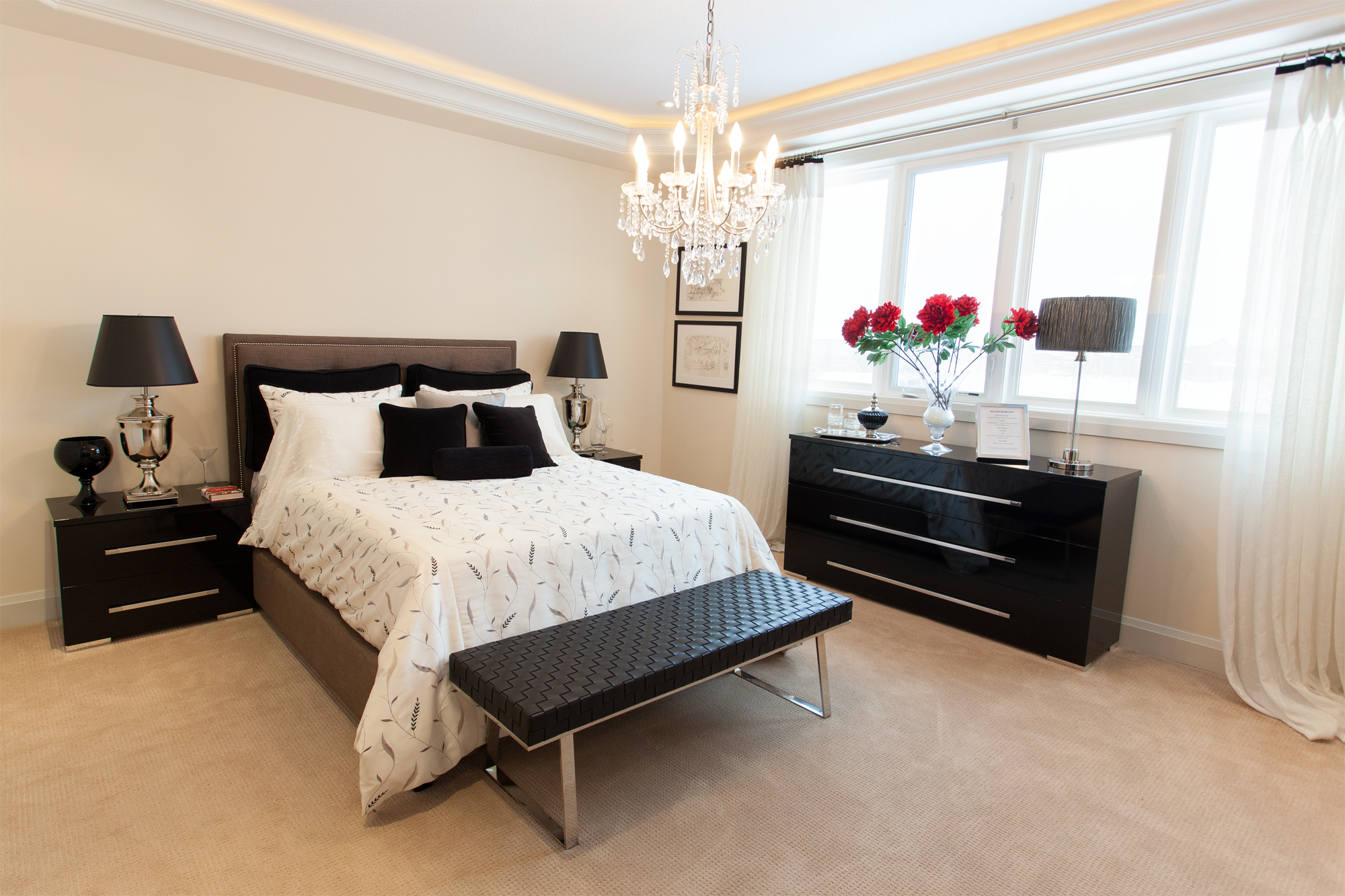 Chic master bedroom real-estate photo