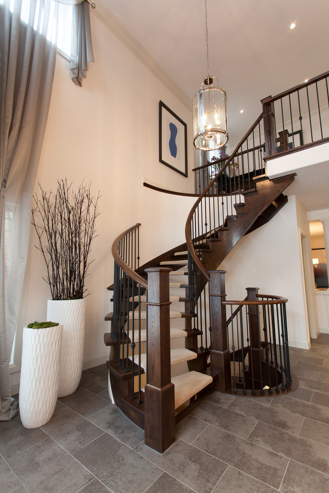 Spiral staircase in a beautiful home