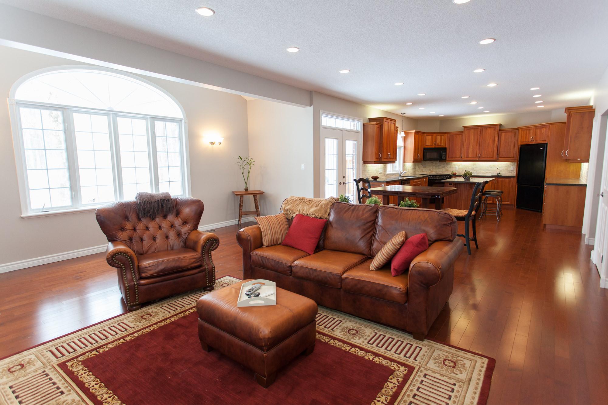 Beautiful, warm, oak hard wood floors in the kitchen