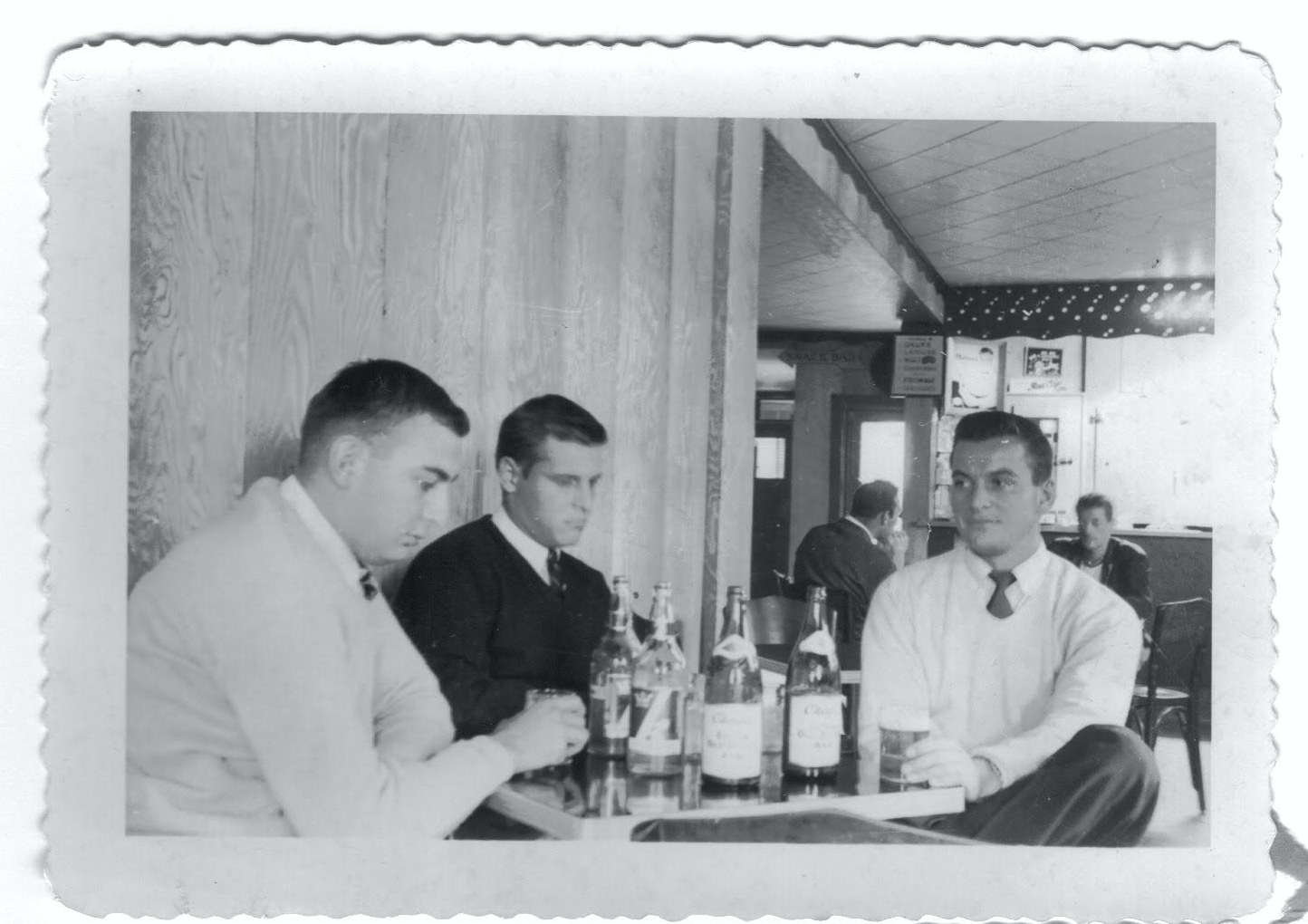 Three Deek brothers enjoying 1955 Spring Break: Emmett Williams (President 1955-56), Tom Aud, and Charles O'Brien (President 1954-55)