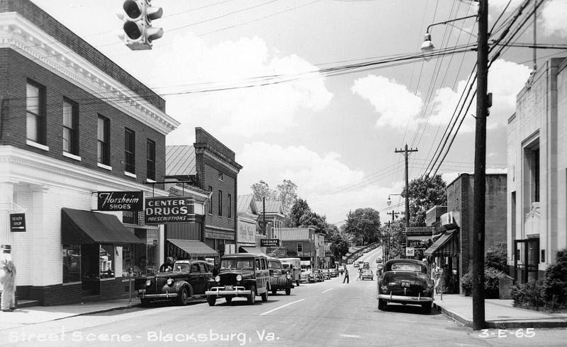 """Looking down Main Street from in front of the Deek's first """"house,"""" an upstairs apartment, the top floor of a business. The Deeks rented the apartment in 1953-54."""