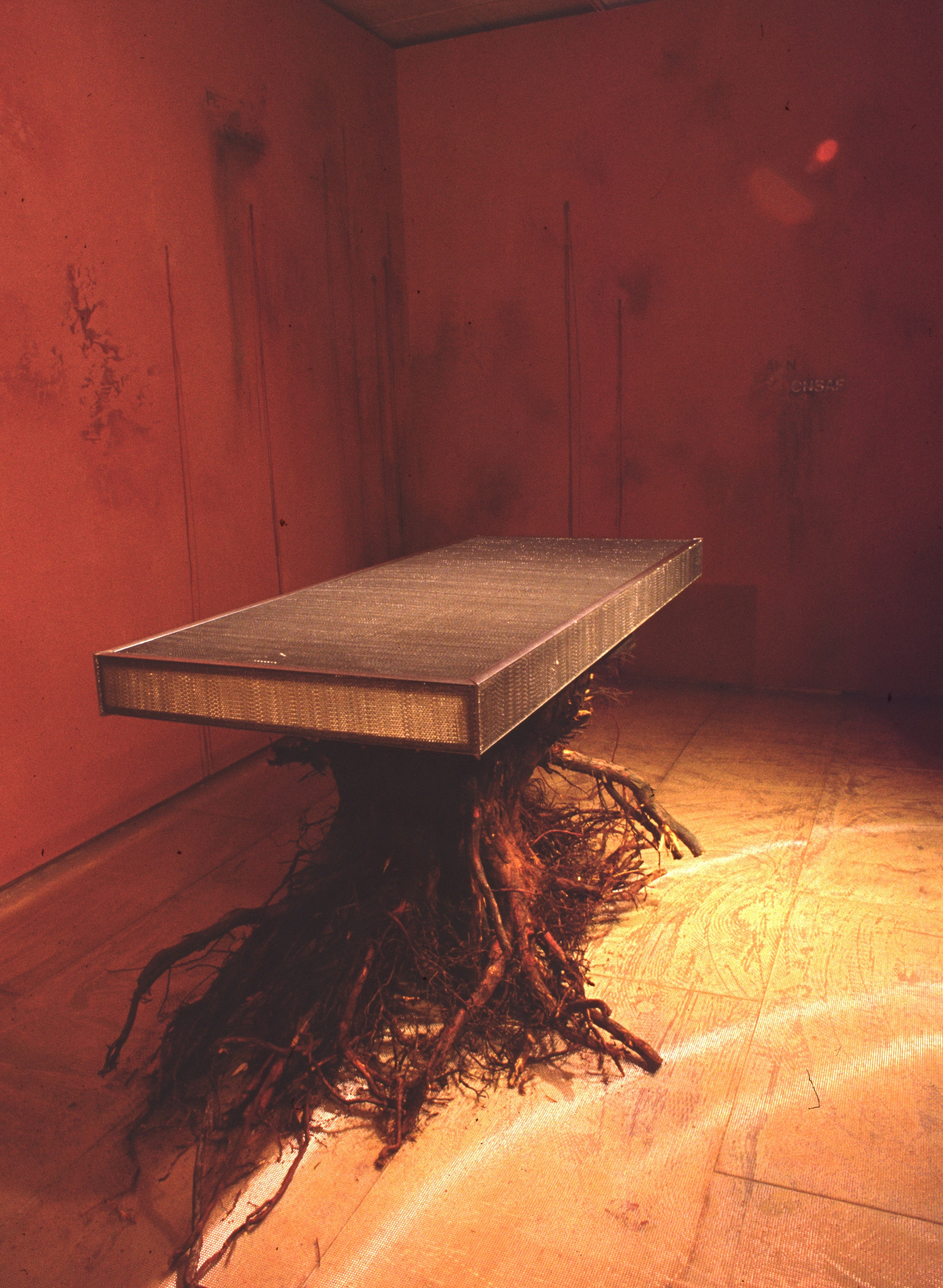 find the Syrian boys  installation detail  honeycomb aluminum, tree trunk  Bellevue Art Museum, Bellevue, WA  1992