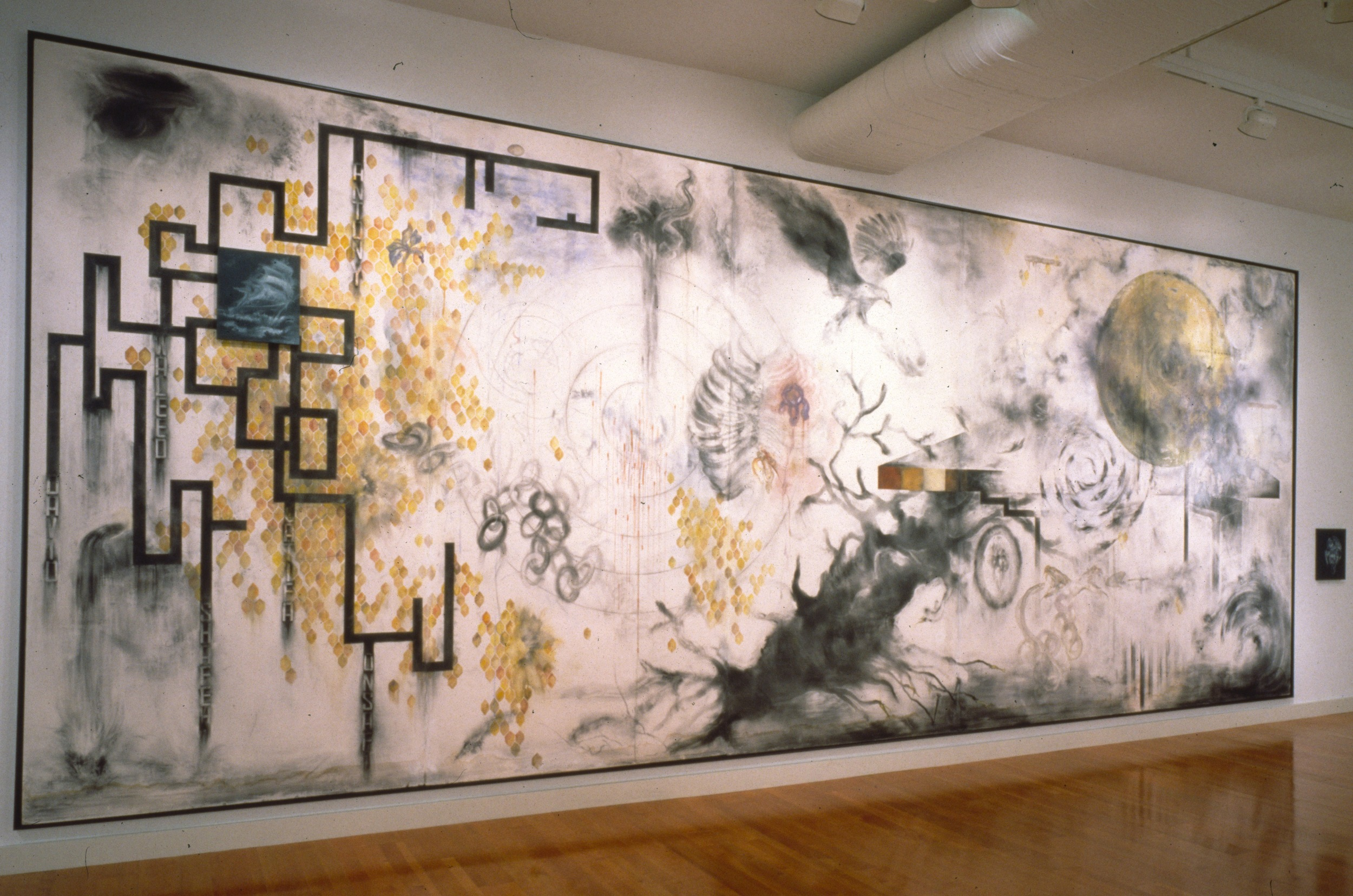 find the Syrian boys  installation preliminary drawing  mixed media  8'x20'  1990-1992