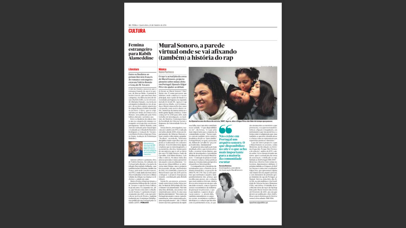 versão impressa, Nuno Pacheco in Público, 26/10/2016