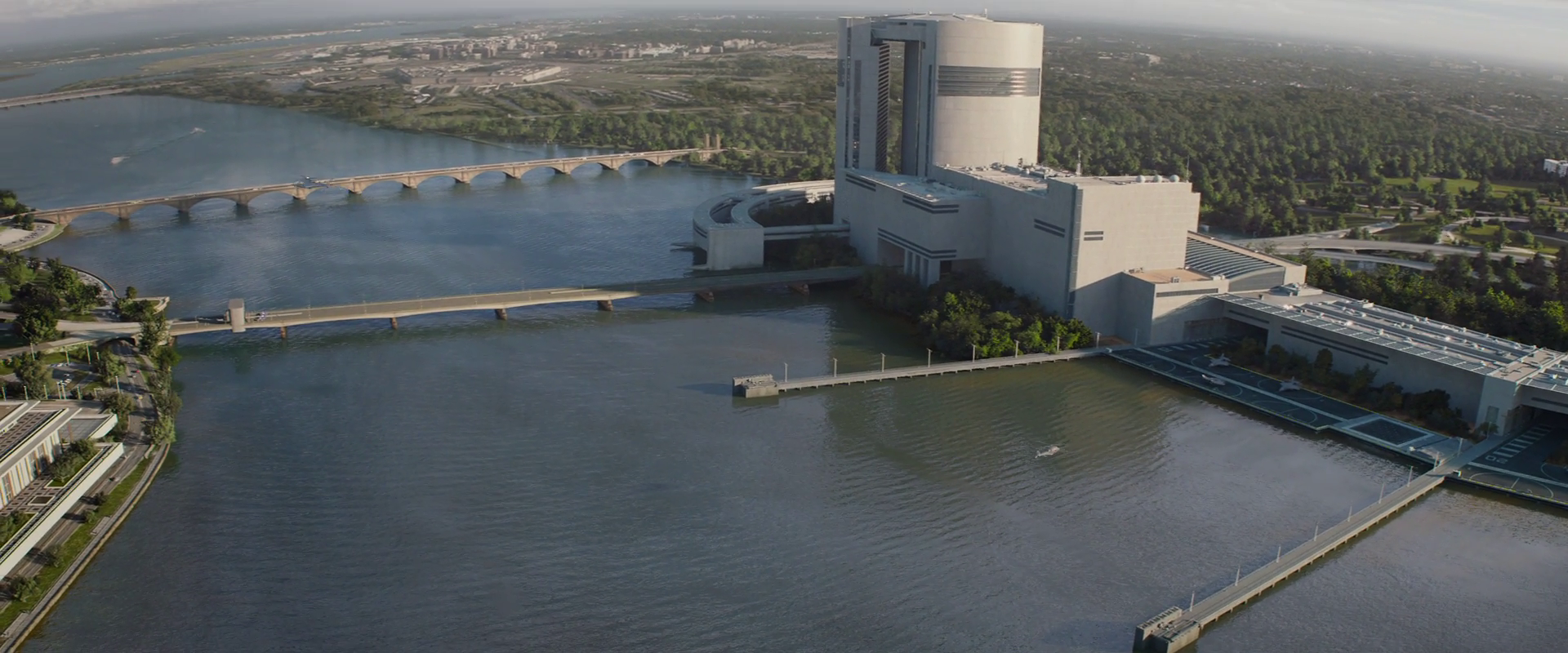 Captain America: Winter Soldier  (2014), view of Triskelion, looking south.