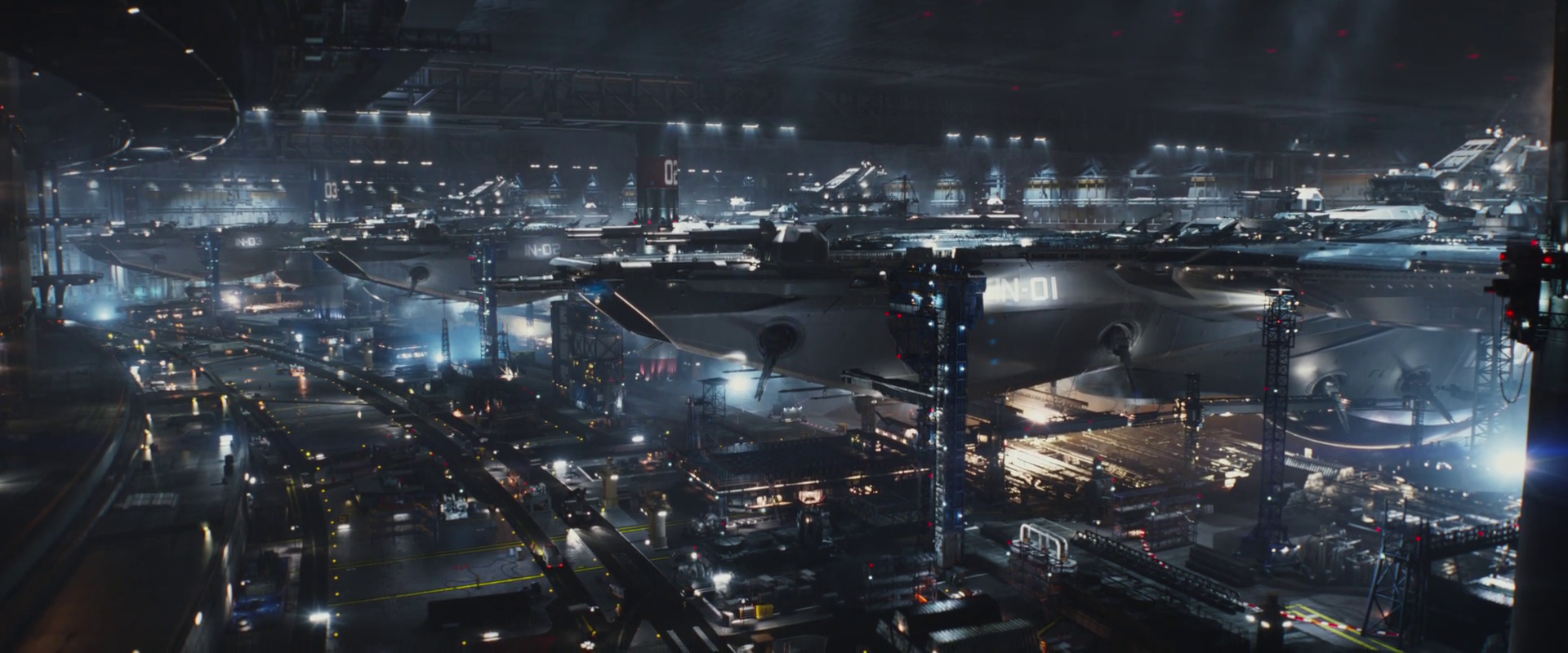 Captain America: Winter Soldier  (2014), helicarriers under the Potomac.