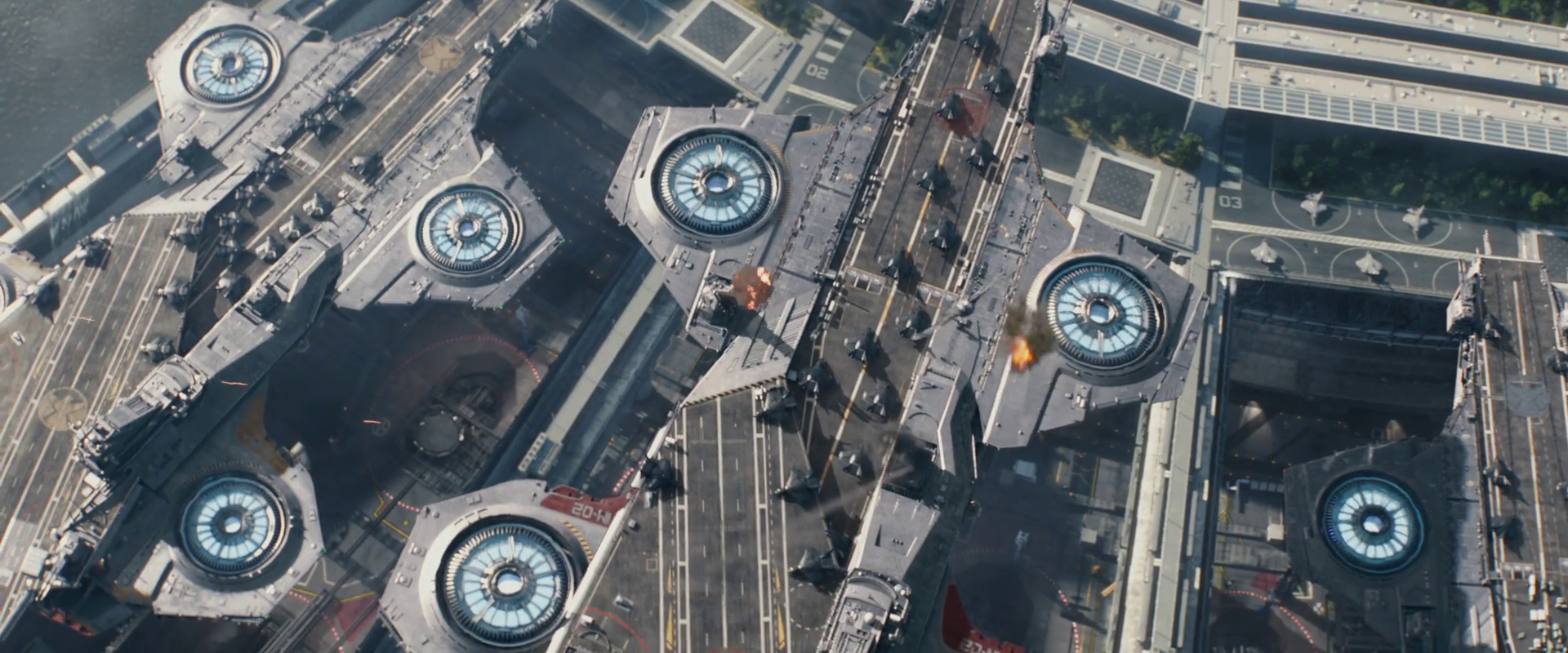 Captain America: Winter Soldier  (2014), helicarriers emerge.