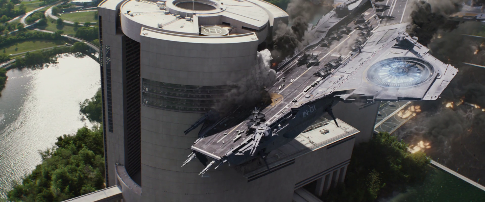 Captain America: Winter Soldier  (2014), helicarrier crash into the easst side of the Triskelion.
